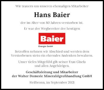 Traueranzeige von Hans Baier von GESAMT