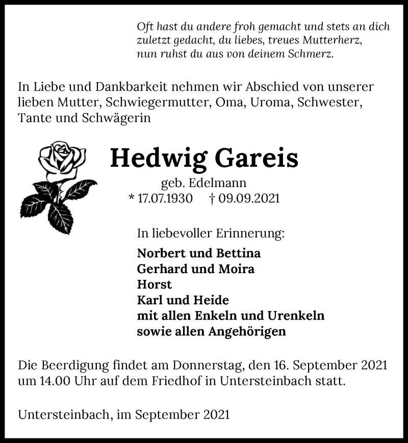 Traueranzeige für Hedwig Gareis vom 14.09.2021 aus GESAMT