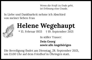 Traueranzeige von Helene Wegehaupt von GESAMT