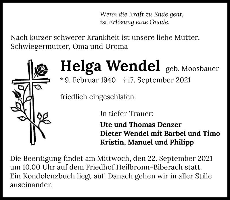 Traueranzeige für Helga Wendel vom 21.09.2021 aus GESAMT
