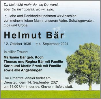 Traueranzeige von Helmut Bär von GESAMT