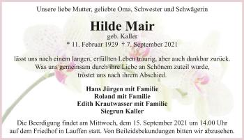 Traueranzeige von Hilde Mair von GESAMT