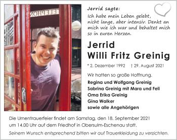 Traueranzeige von Jerrid Willi Fritz Greinig von GESAMT