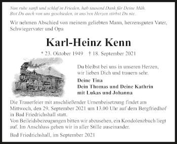 Traueranzeige von Karl-Heinz Kenn von GESAMT