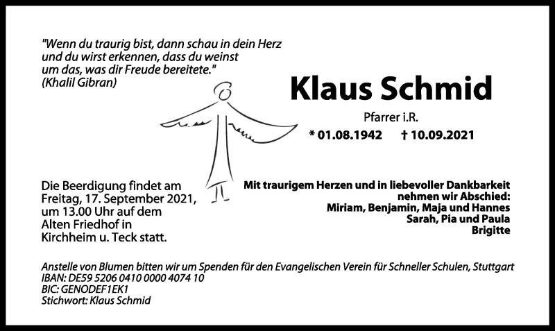 Traueranzeige für Klaus Schmid vom 14.09.2021 aus GESAMT
