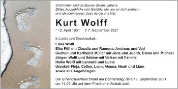 Traueranzeige von Kurt Wolff von GESAMT