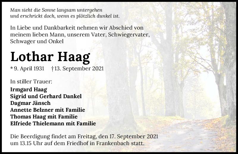 Traueranzeige für Lothar Haag vom 15.09.2021 aus GESAMT