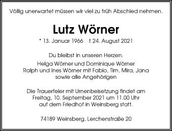 Traueranzeige von Lutz Wörner Wörner von GESAMT