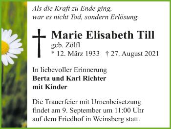 Traueranzeige von Marie Elisabeth Till von GESAMT