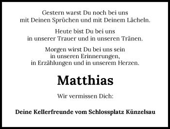 Traueranzeige von Matthias Schirmer von GESAMT
