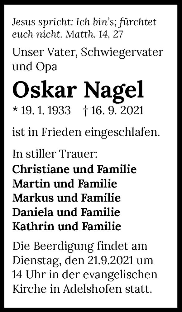 Traueranzeige für Oskar Nagel vom 21.09.2021 aus GESAMT