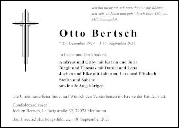 Traueranzeige von Otto Bertsch von GESAMT
