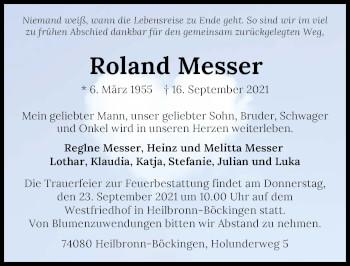 Traueranzeige von Roland Messer von GESAMT