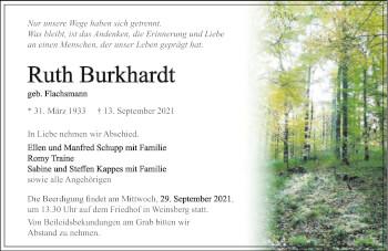 Traueranzeige von Ruth Burkhardt von GESAMT