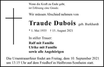 Traueranzeige von Traude Dubois von GESAMT