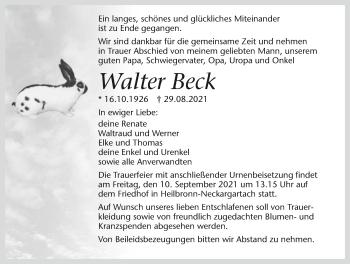 Traueranzeige von Walter Beck von GESAMT