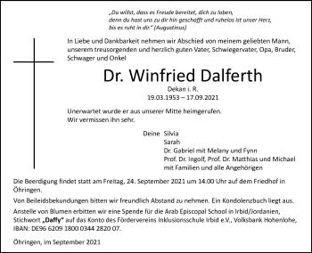 Traueranzeige von Winfried Dalferth von GESAMT