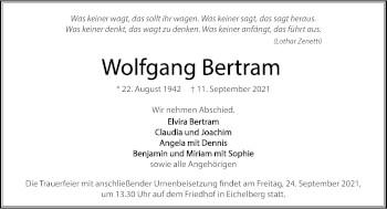 Traueranzeige von Wolfgang Bertram von GESAMT