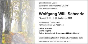 Traueranzeige von Wolfgang Willi Scheerle von GESAMT